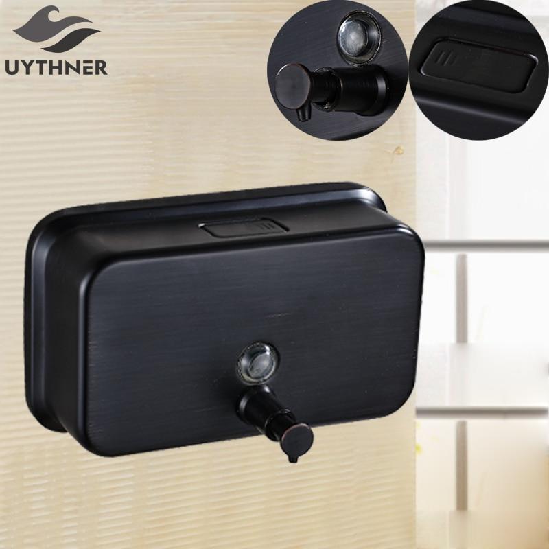 Uythner Luxury Square 1000ML Soap Dispenser Bathroom Accessories Oil Rubbed Bronze Finish square brass soap box soap dish soap basket bathroom hardware accessories