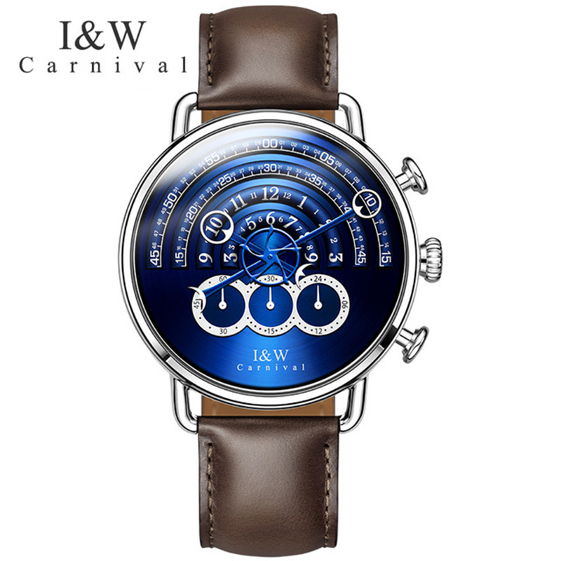 Carnival Chronograph Quartz Watch Men Sapphire Waterproof Silver Stainless Steel Blue Dial Leather Sports wristwatch цена и фото