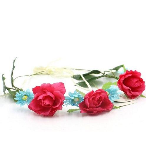 Bride women Rose Flower crown Hairband Wedding Flower Garland Headband Festival flower wreath Elastic Headress Hair Accessories
