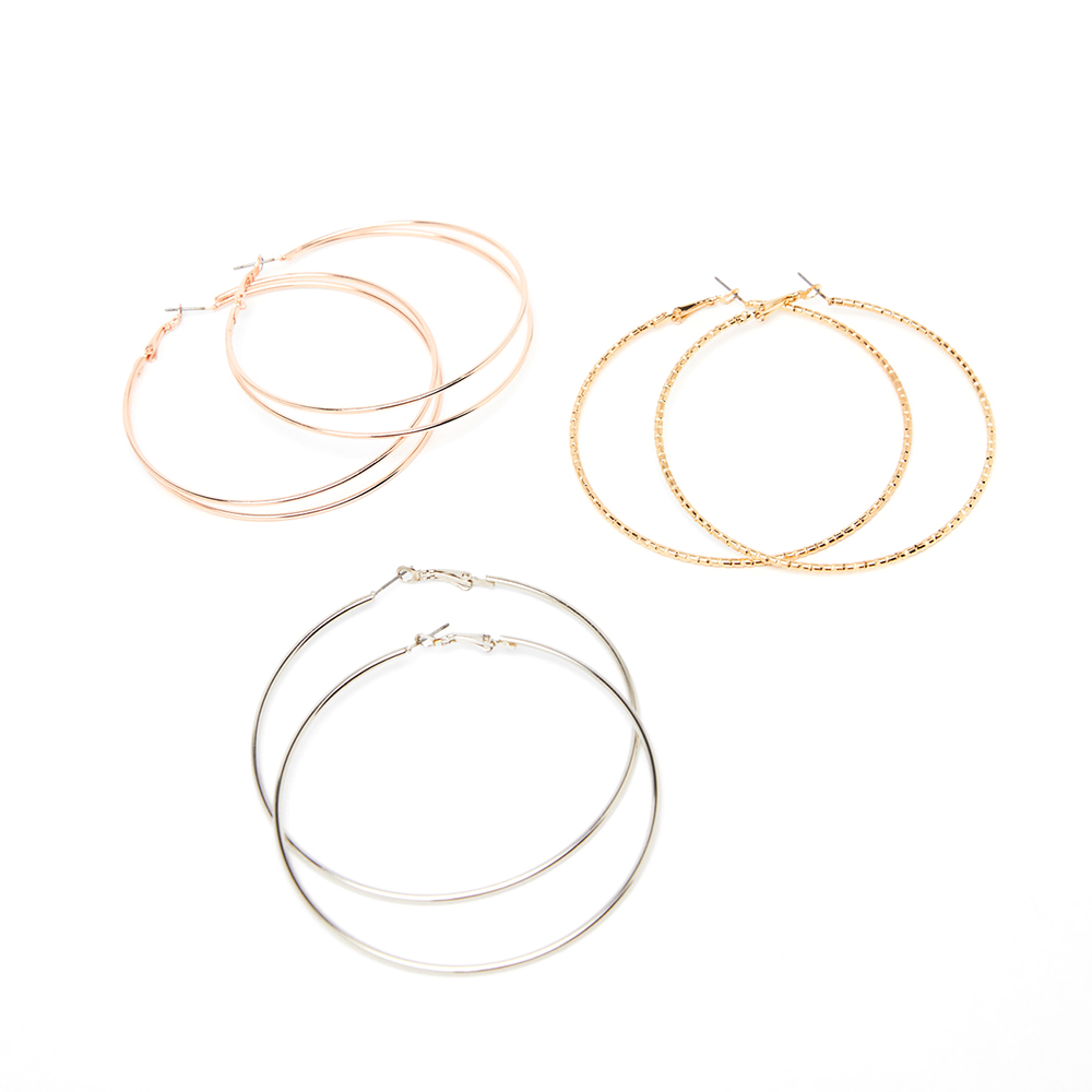 3 PairFashion Big Gold Hoops Earrings Minimalist Thin Wire Round Circle Statement Earring For Women 2019 Za Jewelry Brincos Gift