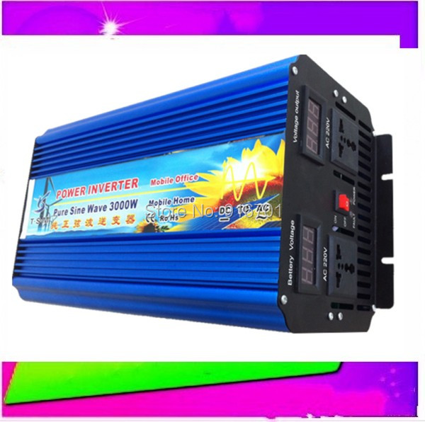 Free Shipping New Arrive 3000W Power Inverter Pure Sine Wave  DC 12V to AC 220V Solar/Wind/Car/Gas Power Generation Converter new arrive 4000w power inverter pure sine wave dc 12v 24v to ac 220v solar power inverter peak power 8000w free shipping