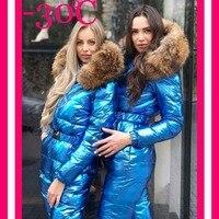 Зимние Для женщин Пуховый комбинезон на пуху для девочек, комбинезон, боди, женский длинный пуховик Куртки на пуху для девочек Комбинезон Од
