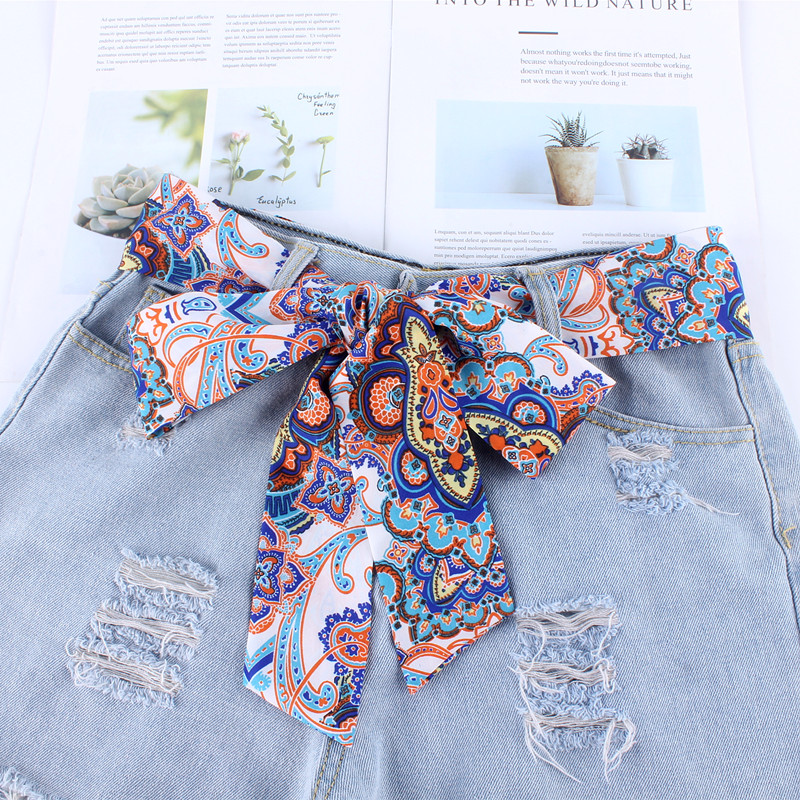 new fashion women Cloth designers   belts   ribbon chiffon printing knot rope for dresses jeans wide waistband   belts