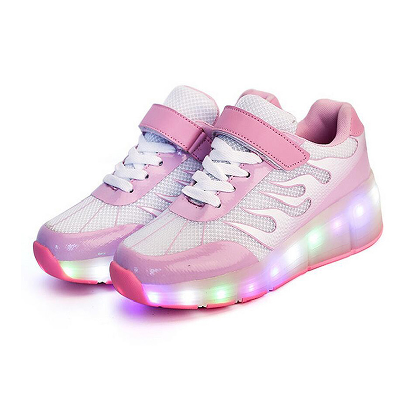 2017 New USB Charging Glowing Shoes Kids LED Sneakers Luminous Lighted Colorful LED Lights Up Children Shoes Boy girl Shoes glowing sneakers usb charging shoes lights up colorful led kids luminous sneakers glowing sneakers black led shoes for boys