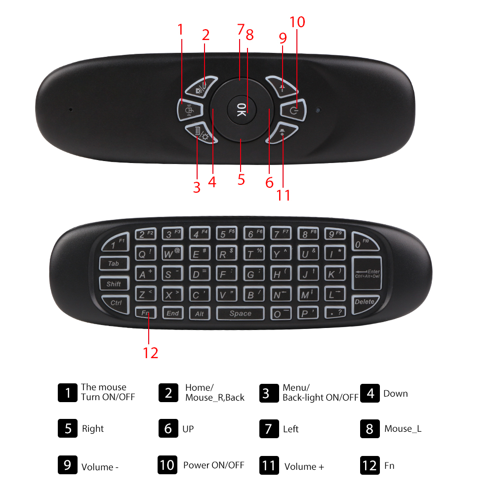 Universal 2 4GHz Wireless Air Mouse Smart Backlight Game Keyboard Mini Rechargeable Fly Mouse for Computer Android TV Box PC in Keyboard Mouse Combos from Computer Office