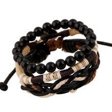 Original 3 In 1 Vintage Male Bracelets Black Wooden Ball Beads Strand Bracelets Handmade Rope Braided Charm Bracelet Men Jewelry