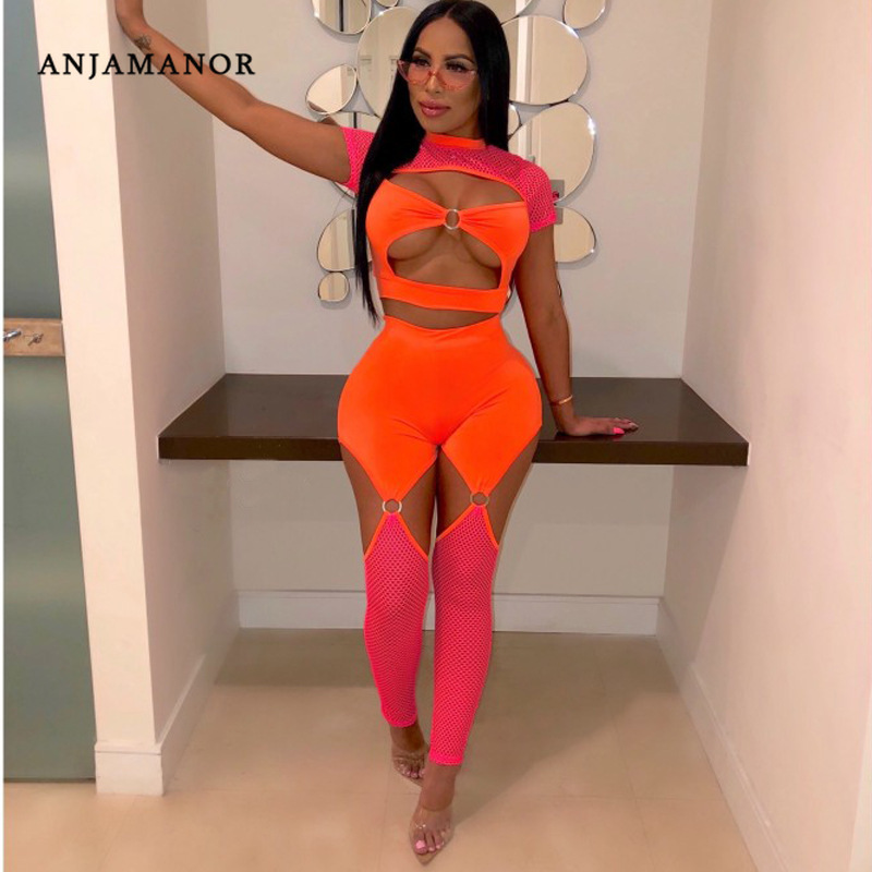 ANJAMANOR Neon Orange Mesh Two Piece Set Crop Top Pants Summer Outfits For Women 2019 2 Piece Set Sexy Festival Club Wear D37AE6