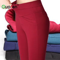 High Quality Women Stretch Pencil Pants Plus Size 4XL High Waist Office Ladies Work Trousers Red