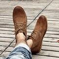 Clásico botas de herramientas de cuero genuino crazy horse de cuero martin botas de desierto botas de los hombres de moda popular de alta top zapatos de cuero