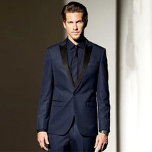 Black Peaked Lapel Navy Blue Men Suits for Wedding with Pants 2Piece Terno Masculino Best Trajes Costume Homme