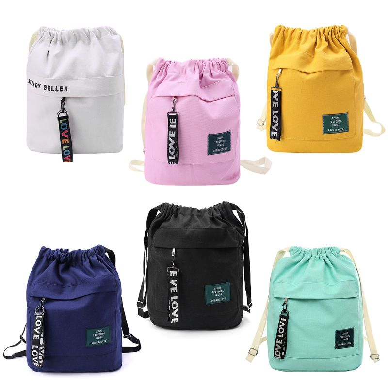 Portable Fashion Canvas Drawstring Backpack Bag Cinch Sack Casual String Sackpack Rucksacks