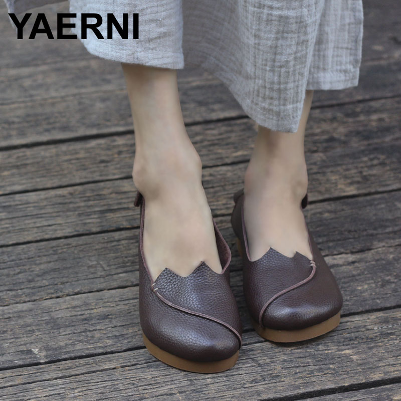 YAERNI Shoes Woman Flat Round Toe Slip on Ballet Flats 100% Authentic Leather Ladies Flat Shoes Anti-slip Women Moccasins size 34 43 blue ladies autumn shoes round toe heel woman flat shoes t strap genuine leather women ballet flats