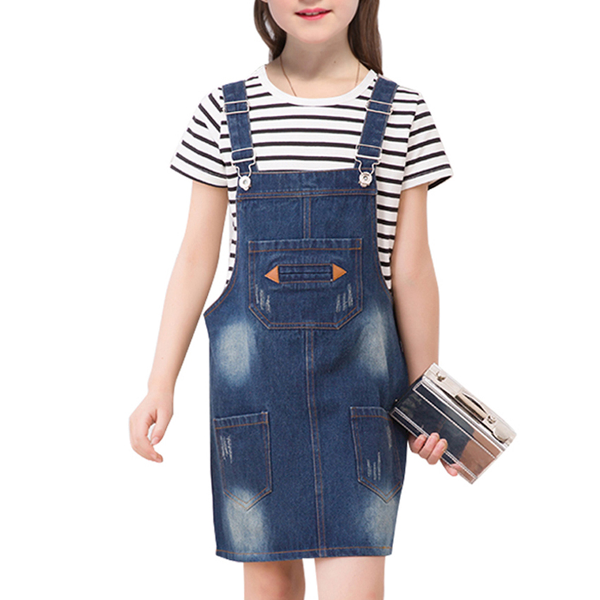 Girls Overalls Dresses for Children Clothes Summer New Baby Kids Jeans Overalls Casual Outwears 6 8 10 12 Years Vestidos