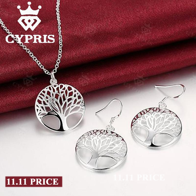 Silver Tree Of Life jewelry bridal set necklace earring totem