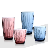 6 pcs set Embossed household glass cup set cold drink cup fashion multicolour fruit juice cup coffee tea mug toothbrush cup