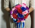2017 dama de Honor Nupcial de La Boda Bouquet Barato Nueva Colorida Hecha A Mano Artificial Flor del Peony Ramos De La Boda Ramos de Novia