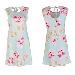 Elegant Flower Printed Summer Women Dress Sexy Sleeveless O-neck Beach Party Mini Dresses S-XL 3