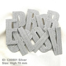 New Silver 26 Letters Iron on Patch Promotion Parch Eco-friendly Handmade 3D Appliqued for clothes Custom Embroidered Patches