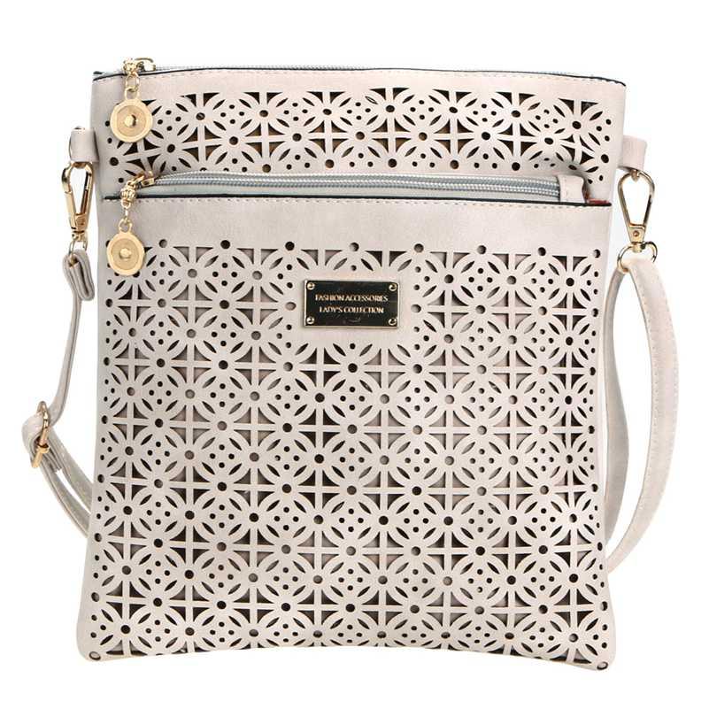 2017 Vintage PU Leather Handbag Hollow Out Crossbody Bags Ladies Shoulder Bag Small Casual Women Messenger Bag Bolsa feminina