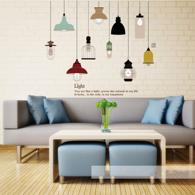 Shine Light Bulb Wall Sticker Living Room Bedroom Decor Mural Art Vinyl Wallpaper Tableware Decal