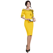 Womens Elegant Bow Slash Neck Dress Vintage Stretch Bodycon Short Sleeve Fashion Knitted Sheath Evening Party Dress 2018 300172