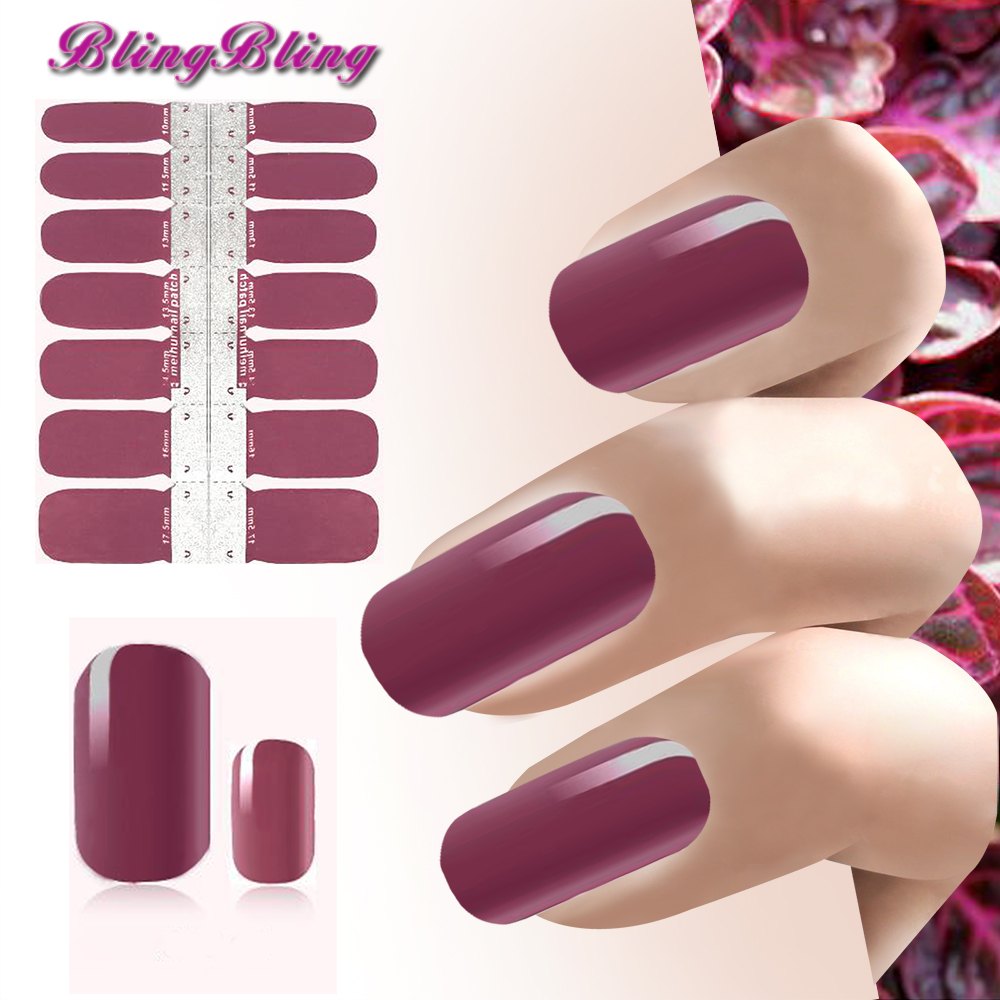 New Nail Art Sticker Self Adhesive Sexy Amaranth red Color Nails Polish Stickers Manicure Tips Decoration Wraps Beauty Decals fwc hot diy designs nail art beauty flower water stickers nails decoration decals tools