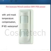 microwave pet immune wired outdoor PIR sensor pet friendly motion detector,anti-mask,IP-65 waterproof outdoor PIR detector alarm