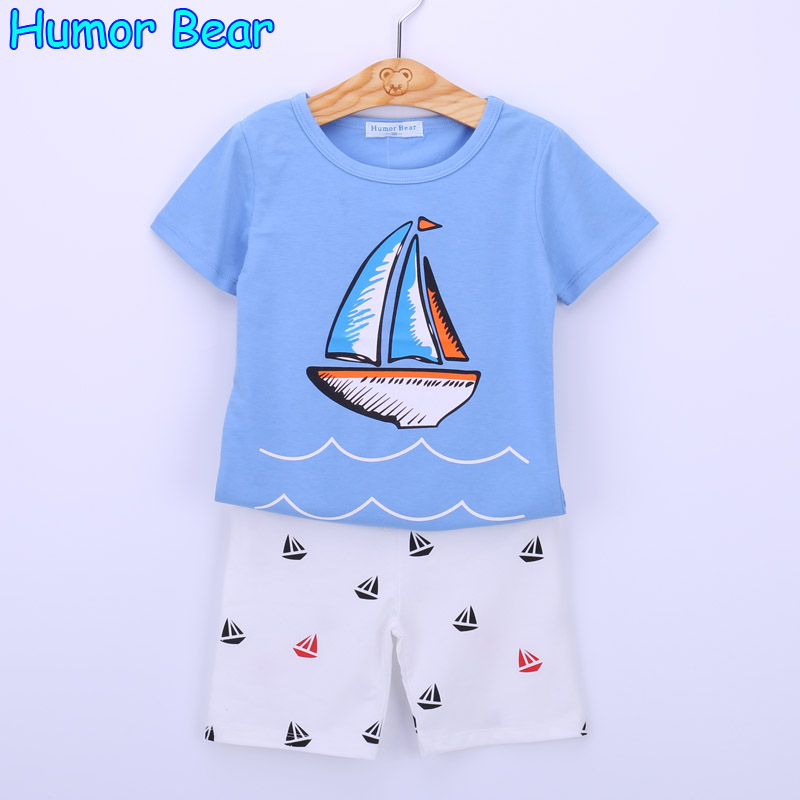 Humor Bear baby boys clothes set boys Cartoon T shirt + pant 2 Pcs Set Casual kids Set Childrens clothes
