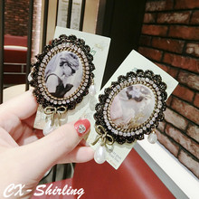 CX-Shirling All Match Antique Crystal Pearl Lady Head Brooches Female Lace Brooch Pin For Coat Scraf cx shirling 4 colors crystal daisy female