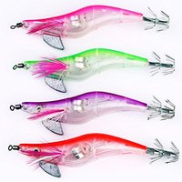 3 Pz di (Tenflyer Pack fo 4 10.5 cm Gambero Luce LED Lampeggiante Squid Jig Fishing Lure Gamberetto Tackle Hook)