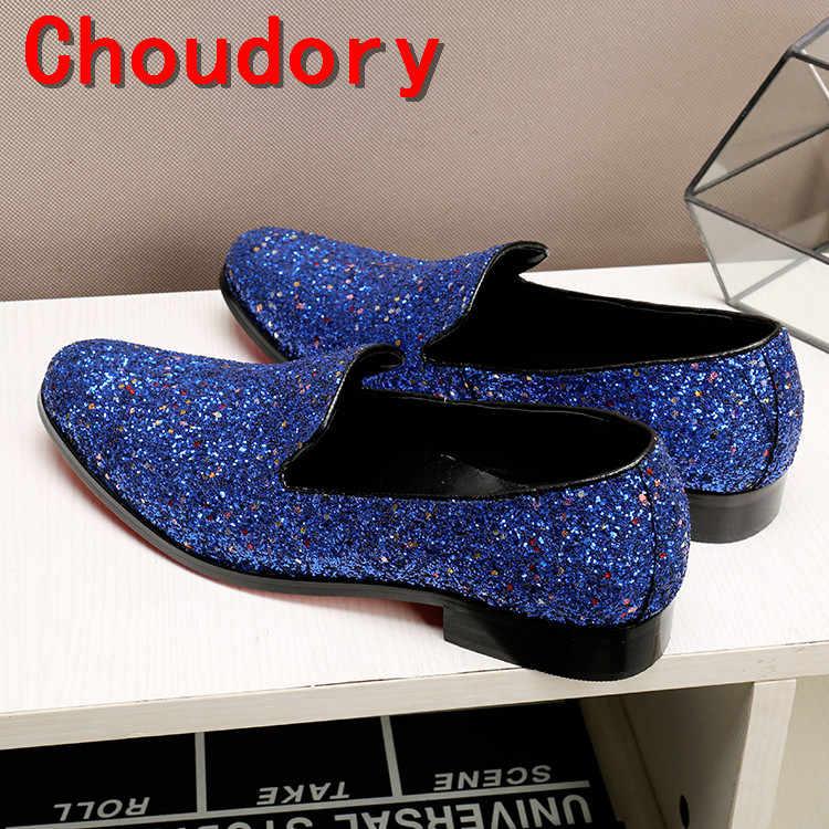 Choudory zapatos de cuero italianos para hombre mocasines azul con pinchos hombres brillo boda hombres zapatos de vestir 2017 zapatillas clásicas de terciopelo slipon