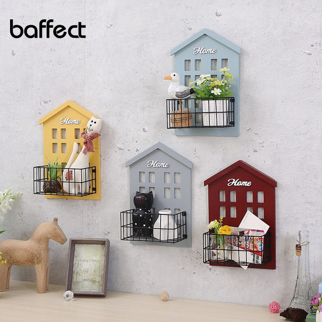 Vintage pastoral small house wall shelf living room wall mounted storage rack wall flower shelf room hanging decoration