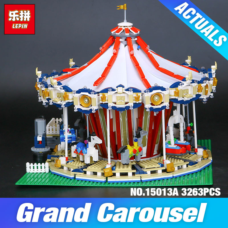 Lepin 15013 City Sreet set Carousel Model Building Kits Blocks Toy Compatible 10196 with Funny Children Educational lovely Gift lepin 15009 city street pet shop model building kid blocks bricks assembling toys compatible 10218 educational toy funny gift