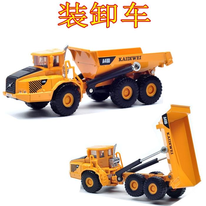 Candice guo Cadeve Alloy car truck model 1 87 articulated dump mini truck transport collection children