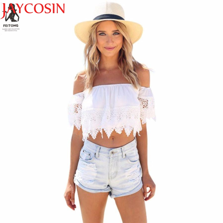 2017 Fashion Women Sexy Off Shoulder Chiffon Shirt Tassels Boho White Crop Top Shirts J616 Dropshipping