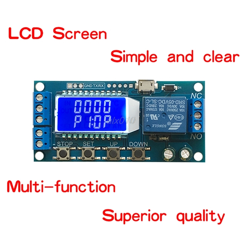 DC 6-30V Support Micro USB 5V LED Display Automation Cycle Delay Timer Control Off Switch Delay Time Relay July DropShip cycle through off trigger delay power off delay time adjustable 220v relay delay timer switch