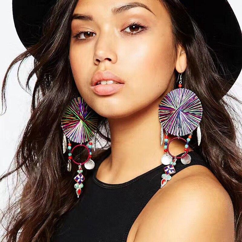 Ztech Bohemia Tassel Earrings For Women 2017 Vintage coin pendants Long Fringed Statement Earring Fashion Jewelry Wholesale Gift