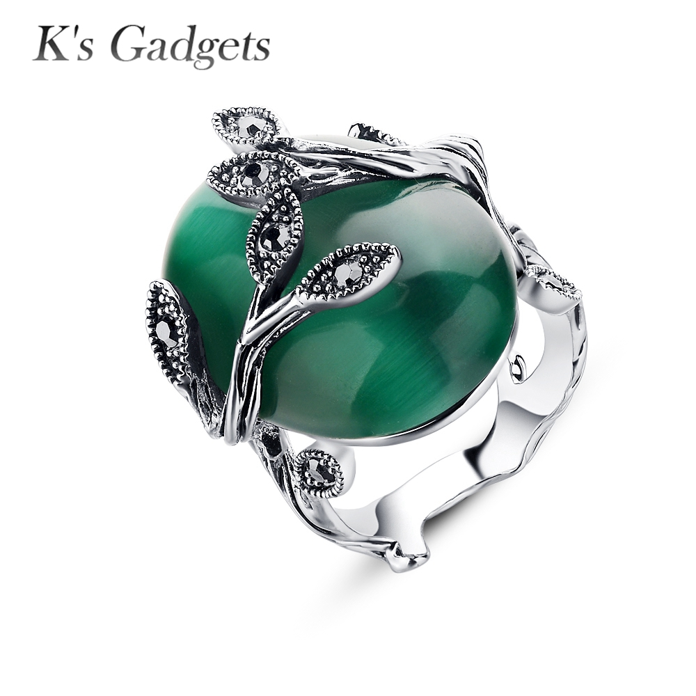Big Green Opal Stone Ring Vintage Retro Silver Color Carved Black  Rhinestone Leaf Wedding Rings For