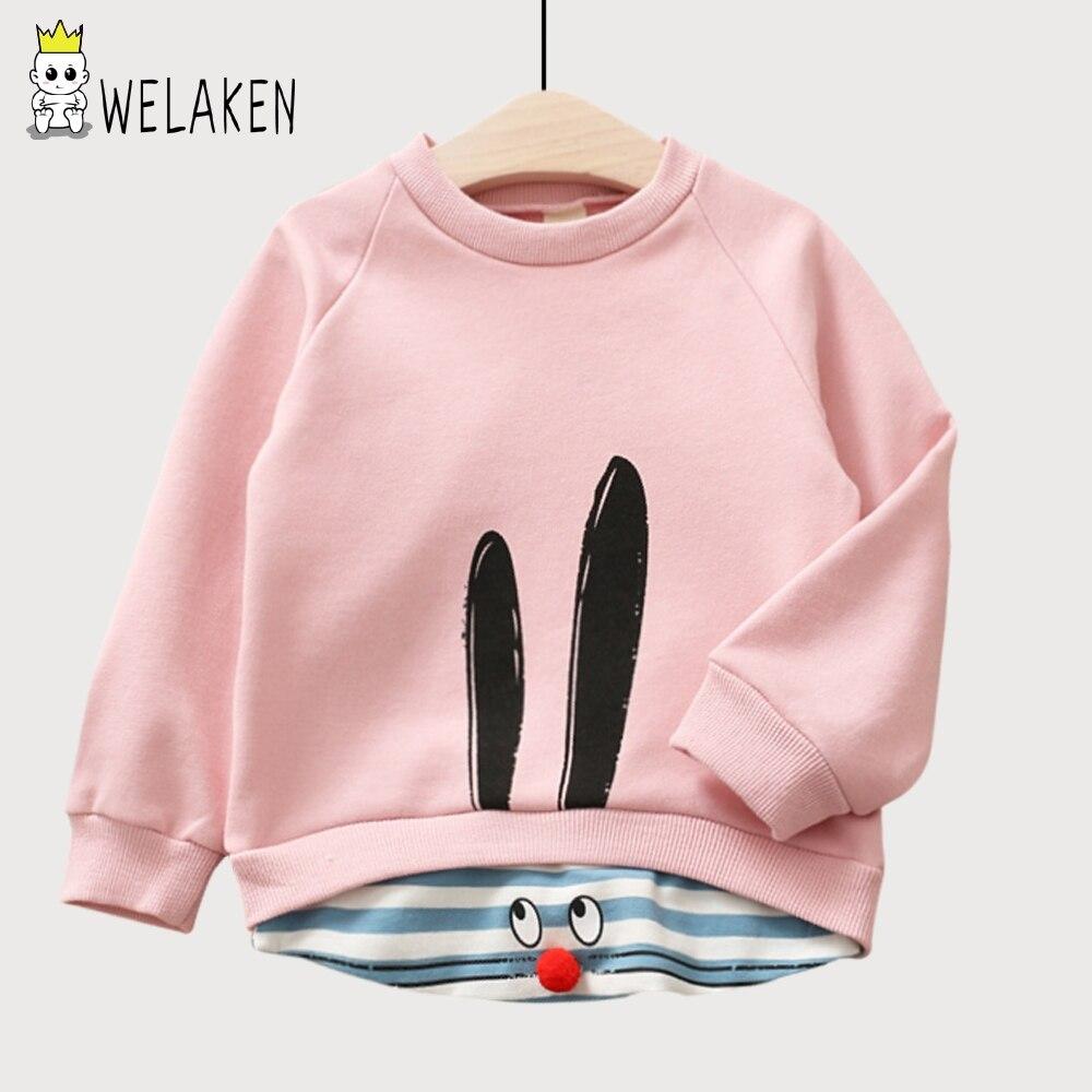 WeLaken 2018 Printemps Bébé Fille Vêtements Couture de Bande Dessinée Lapin À Manches Longues Enfants Mignon T-Shirts Coton Enfants T-Shirts