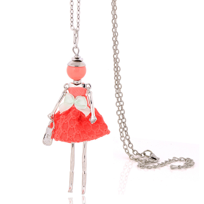 hot sale big pendant necklace lovely dress doll necklaces & pendants maxi collar women long chain necklace dropship choker