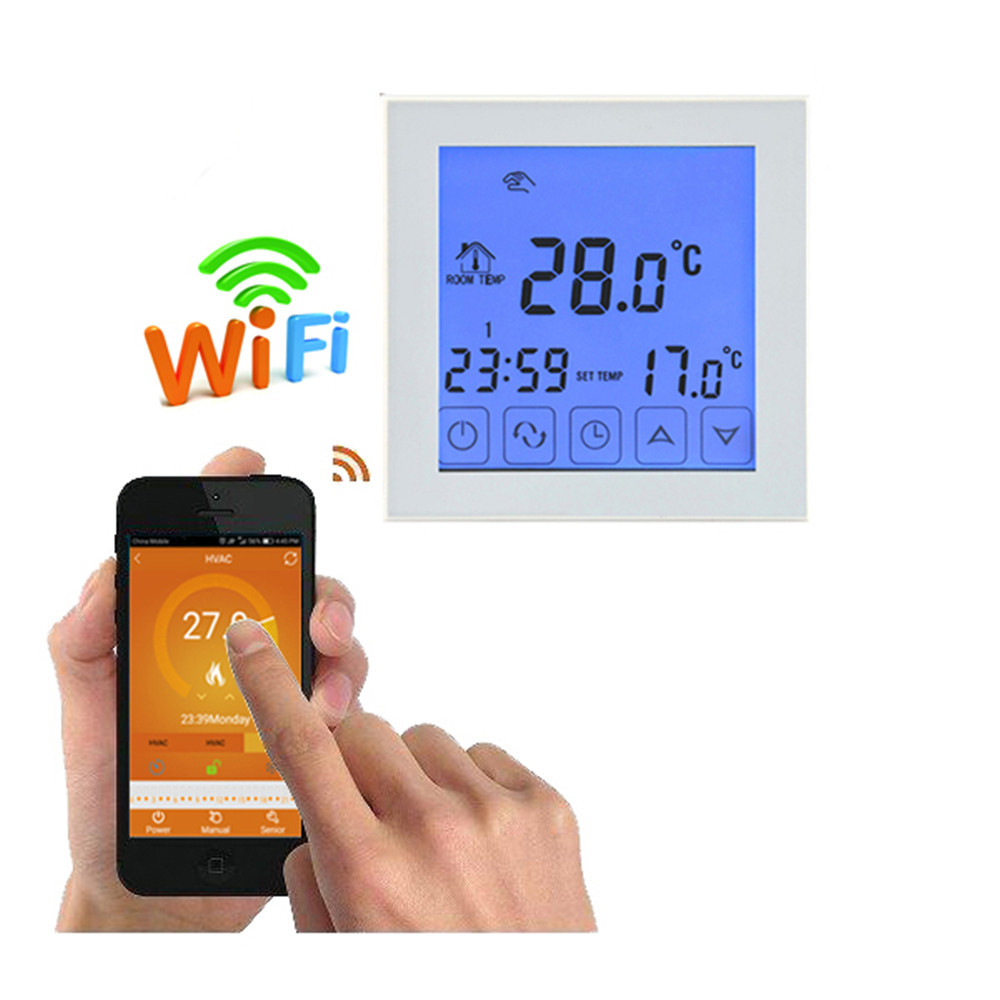 WiFi LCD Touch Screen Thermostat Smart Digital Electric HeatingTemperature Controller Control by Cellphone hm digital valve shower controller 3 ways led touch screen control thermostat display lcd smart power outlet is compatible
