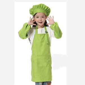 Image 4 - 子供エプロン子供たちは帽子ポケット幼稚園キッチンベーキング塗装調理ドリンク食品ランファン tablier delantal ロゴプリント