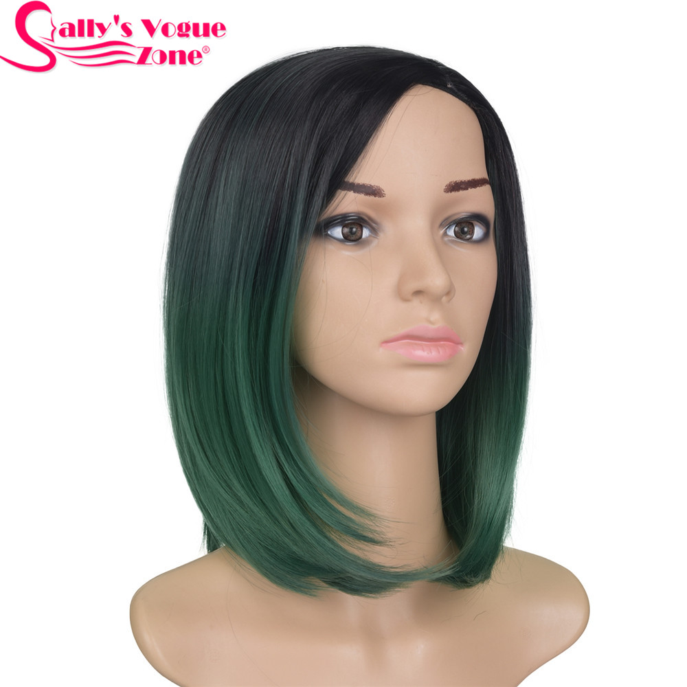 Sallyhair High Temperature Synthetic Straight Short Ombre Black Emerald Green Color America Africa Bob Wigs Hair For Black Women