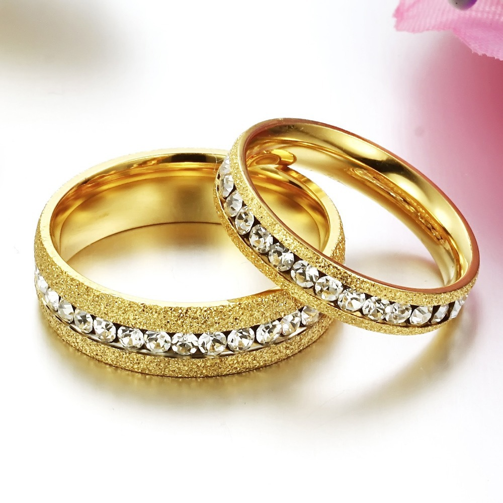 Trustylan Anelli Diamanti Crystal Gold Color Wedding Rings For Men And Women His Hers Promise Ring Sets Engagement Jewelry In From