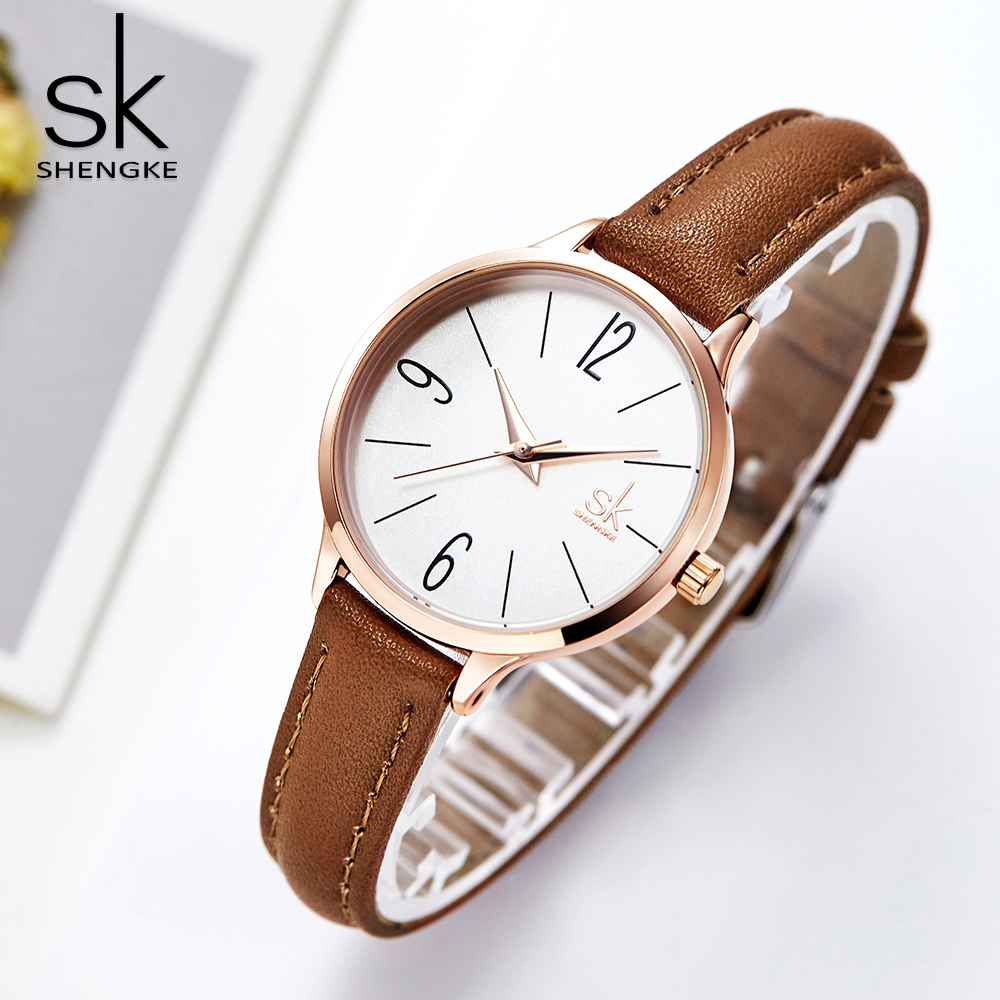 Shengke New Clock Women Fashion Casual Slim Leather Strap Round Dial Japanese Quartz Movement Wristwatches Relogio Feminino