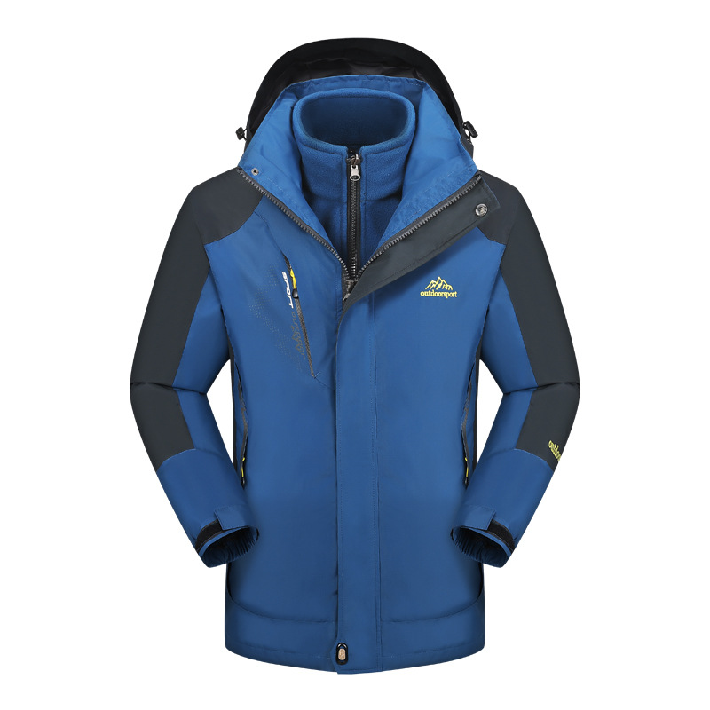 Men Women Removable Outdoor Fleece Jacket Camping Hiking Soft shell Jacket Waterproof Thermal Double-sided velvet Jacket