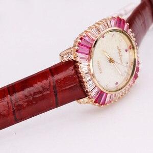 Image 3 - Роскошные женские часы с перламутровыми стразами, японские кварцевые часы, модные часы с кристаллами из натуральной кожи, подарок на день рождения, коробка Melissa