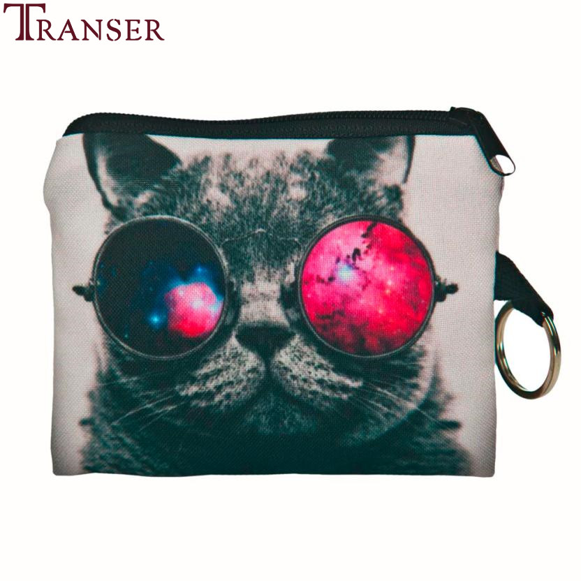 Transer Fashion creative animal print Girl printing coins change purse Clutch zipper zero wallet phone key bags A16