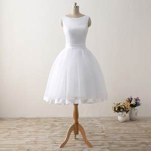 Wedding-Dresses Organza Bridal Formal Beach Short Party-Gowns Cheap Satin Backless Bow
