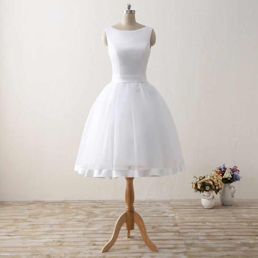 זול קצר חוף חתונת שמלות 2019 ללא משענת נשים הברך אורך אורגנזה סאטן פורמליות כלה שמלות מפלגת לבנה שמלה עם קשת
